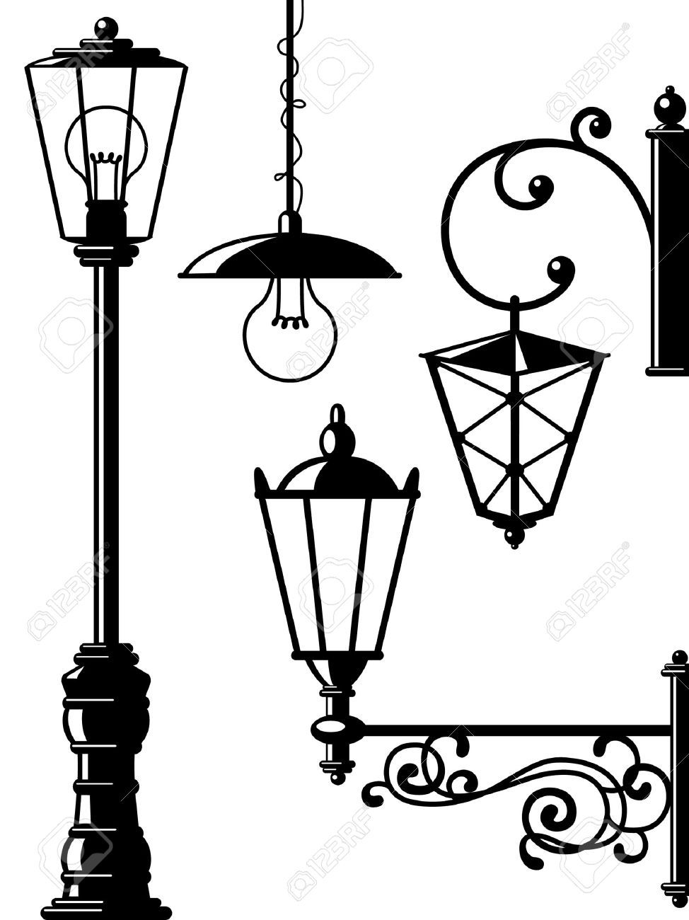 Street light clipart black and white roalty free clipart download Stock Vector | Simple Hardware Visual | Street lamp, Lantern ... clipart download