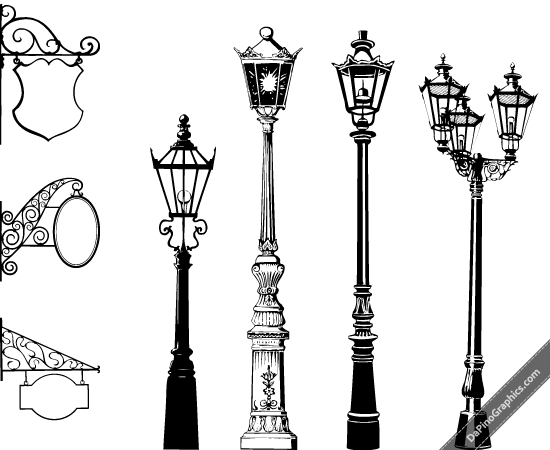 Street light clipart black and white roalty free clipart library Vector Vintage Street Lights & Signs | Stencil | Street lamp ... clipart library