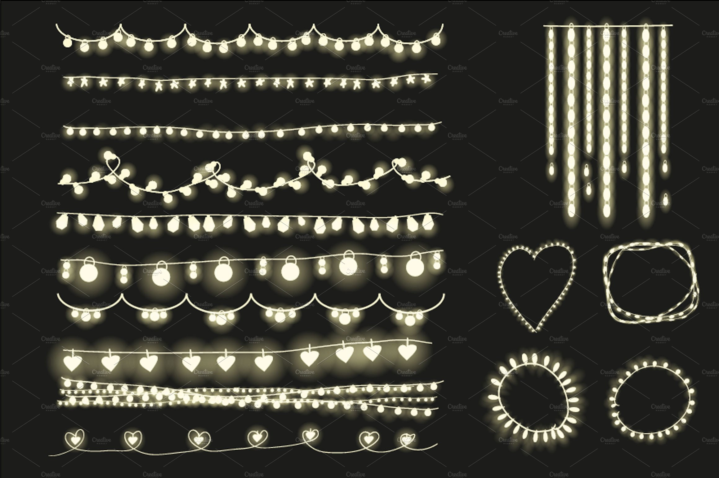 Twinkle lights clipart banner freeuse library String lights clipart Photos, Graphics, Fonts, Themes ... banner freeuse library
