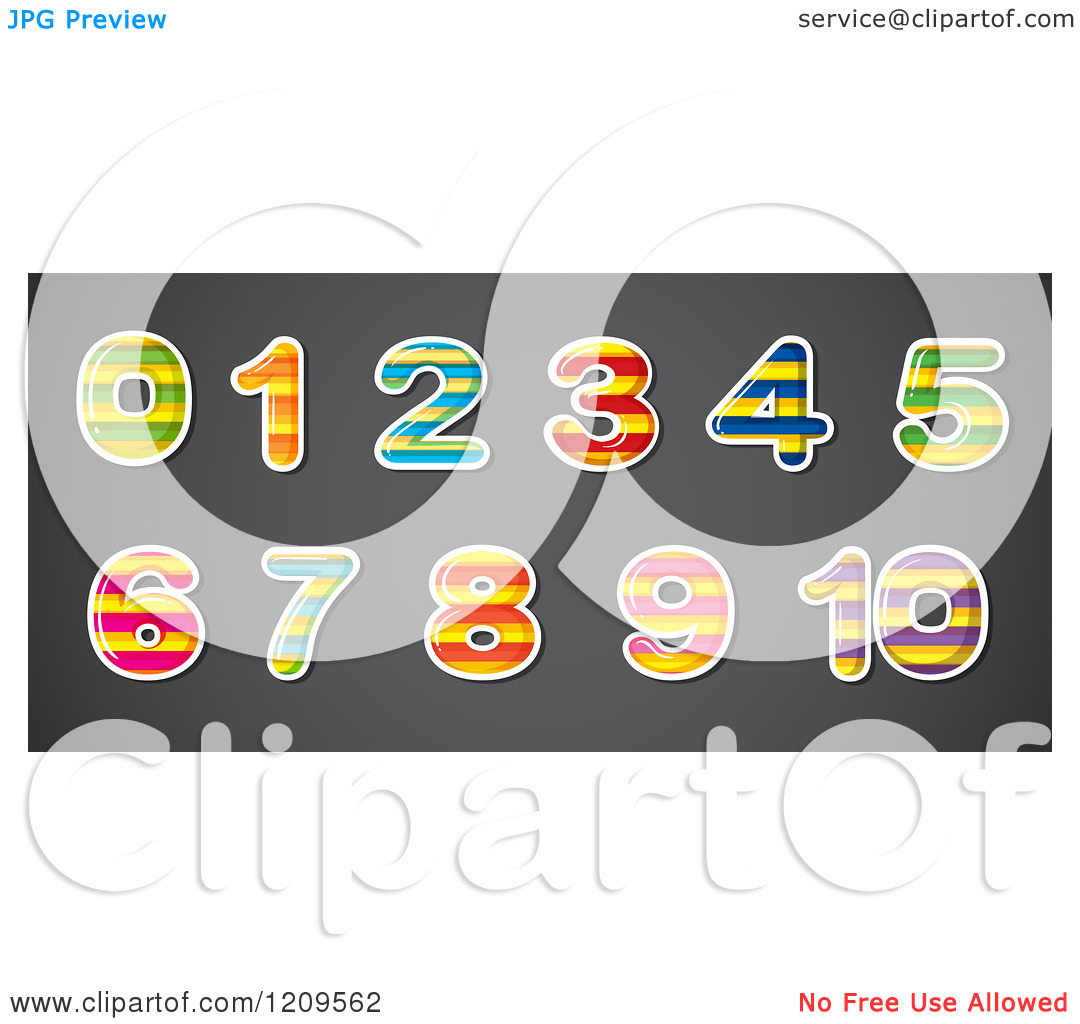 Striped number 1 clipart jpg free Cartoon of Striped Patterned Number Digits - Royalty Free Vector ... jpg free