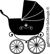 Stroller clipart black and white jpg free library Baby Stroller Clip Art - Royalty Free - GoGraph jpg free library