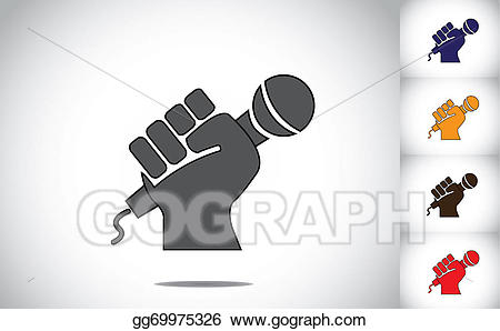Strongly clipart graphic black and white Clipart - Human hand strongly holding mic microphone ... graphic black and white
