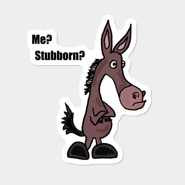 Stubborn mule clipart vector black and white Funny Stubborn Mule Cartoon Sticker By SmileToday Design By Humans vector black and white