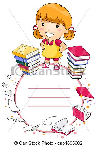 Student artwork clipart banner royalty free library Clip Art of Student Frame - A Cute Girl Surrounded by Books making ... banner royalty free library