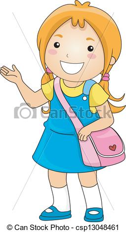 Student artwork clipart svg royalty free library Clip Art Vector of Student Girl Making Presentation - Illustration ... svg royalty free library