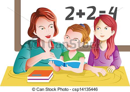 Student artwork clipart png black and white download EPS Vector of Teacher and student in the classroom - A vector ... png black and white download