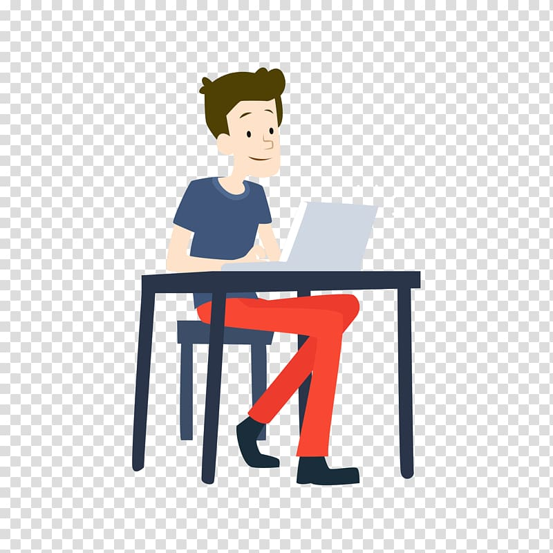 Student computer clipart picture stock Man on desk with lapotp illustration, Student Education ... picture stock