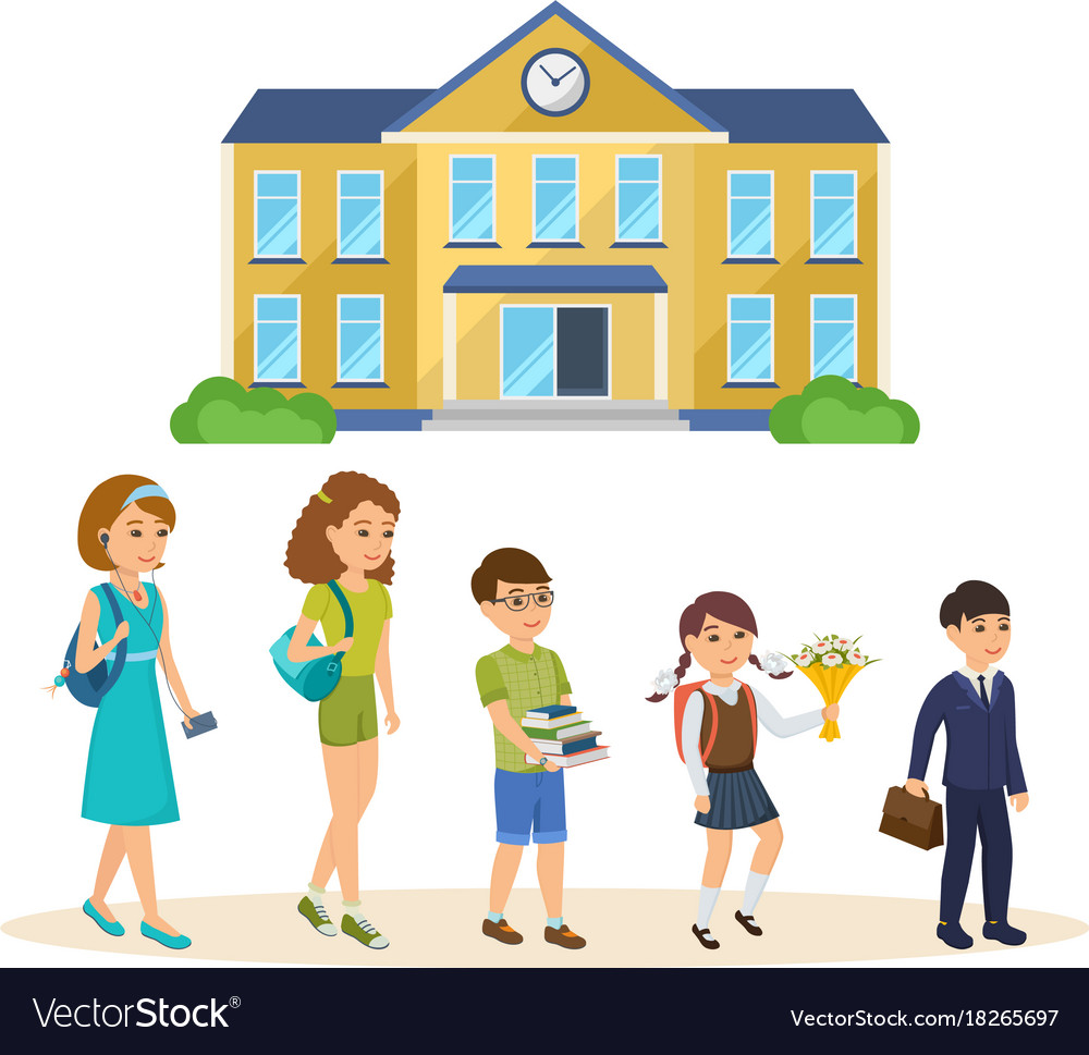 Student going to school clipart clip black and white School building students going to classes clip black and white