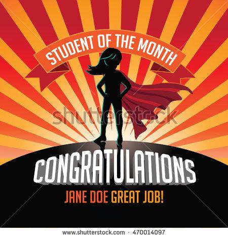 Student of the month clip art jpg black and white stock Female Student Month Superhero Burst Background Stock Illustration ... jpg black and white stock