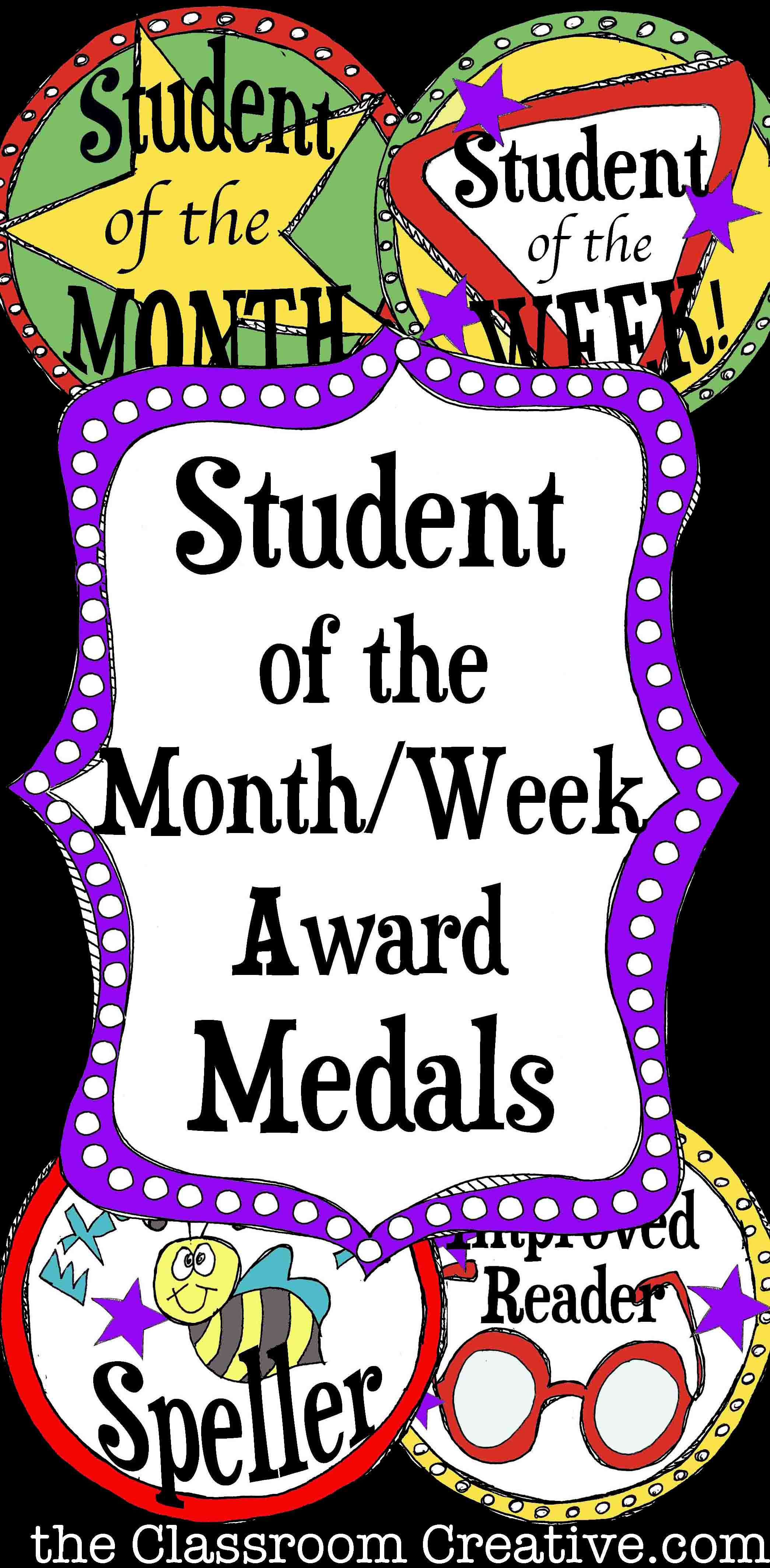 Student of the month clipart black and white stock Printable Student of the Month Award Medals black and white stock