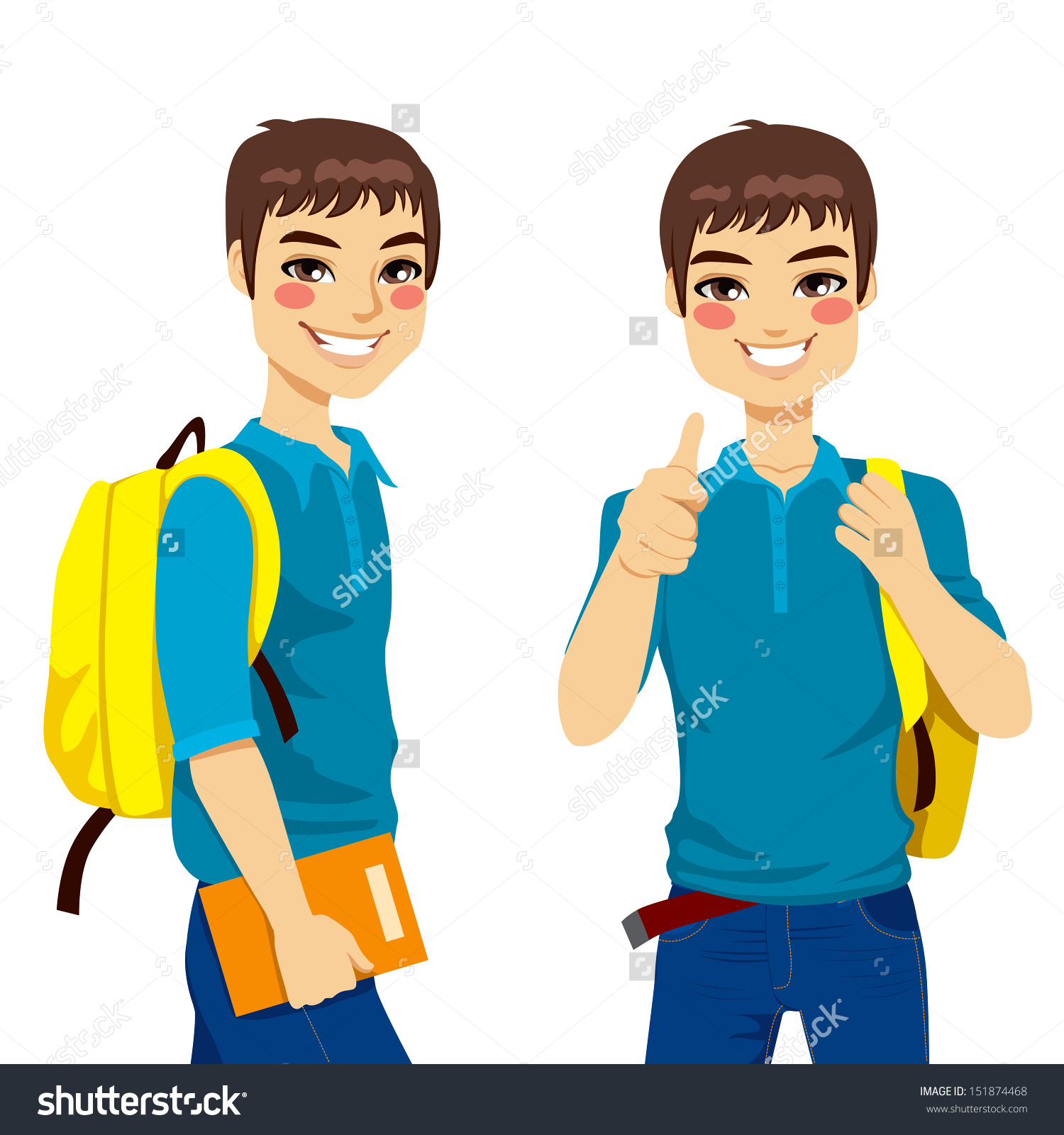Student thumbs up clipart royalty free library Cool Teenage Student Making Thumbs Hand Stock Vector 151874468 ... royalty free library