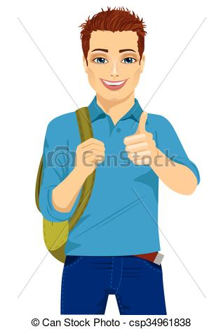 Student thumbs up clipart vector royalty free library Vectors of student showing thumbs up hand sign ready to go back to ... vector royalty free library