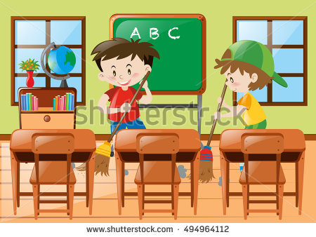 Student washing tables clipart jpg library library Kids Cleaning Stock Images, Royalty-Free Images & Vectors ... jpg library library