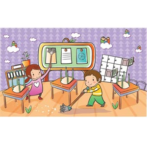 Student washing tables clipart clipart transparent library Students Clean Up Room Clipart - Clipart Kid clipart transparent library