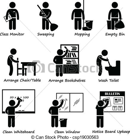 Student washing tables clipart vector black and white download Clip Art Vector of Classroom Student Duty Roster - A set of ... vector black and white download