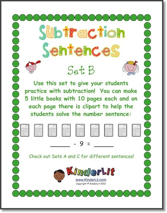 Student with 5 books clipart picture transparent library My Subtraction Number Sentences - Set B | Sentences, Book and Student picture transparent library