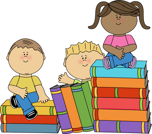 Child holding book clipart