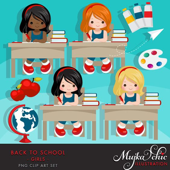 Student with 5 books clipart clip free download Back to school Clipart. Cute students, black board, school ... clip free download