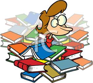 Student with books clipart graphic freeuse library Student Buried In Books an Frantic - Royalty Free Clipart Picture graphic freeuse library