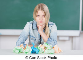 Student writers block clipart vector freeuse Stock Photography of Serious student with piles of textbooks ... vector freeuse