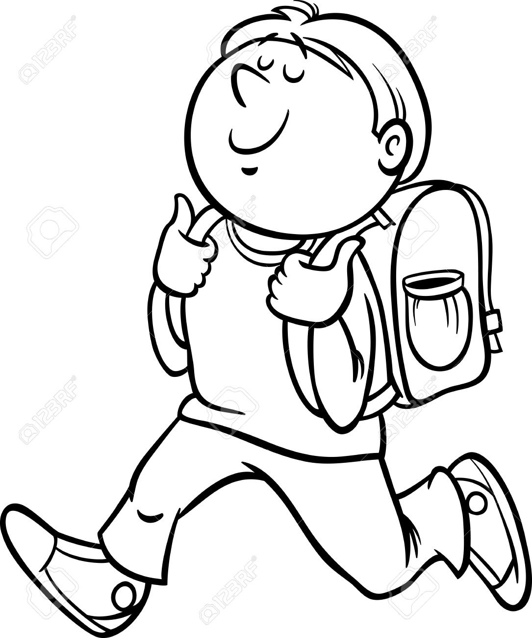 Students at school clipart black and white graphic transparent Black And White Cartoon Illustration Of Primary School ... graphic transparent