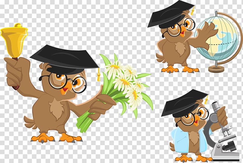 Students classroom teacher half moon table clipart drawing vector royalty free Owl wearing mortar hat illustration, School bell , Cartoon ... vector royalty free