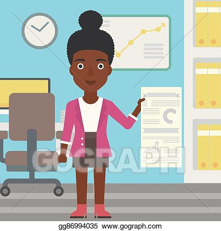 Students making a presentation clipart image EPS Vector - Woman making business presentation. Stock ... image