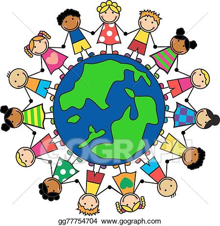 Students of different nationality holding hands clipart clip free EPS Illustration - Friendship of the peoples. Vector Clipart ... clip free