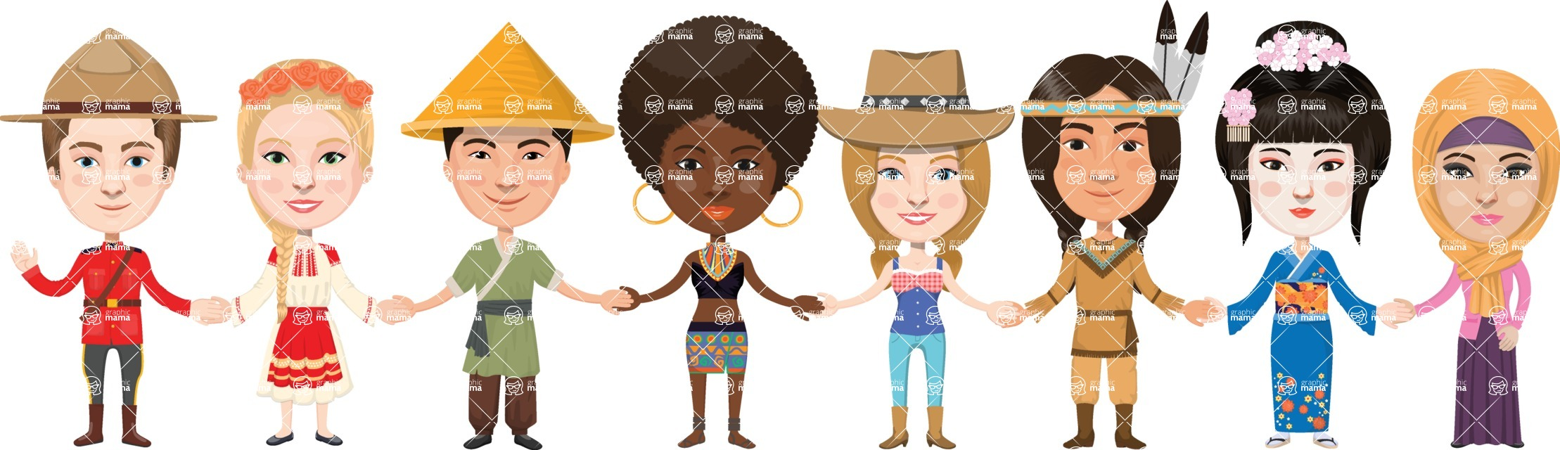 Students of different nationality holding hands clipart png black and white stock People and Cultures | GraphicMama / Different nationalities ... png black and white stock