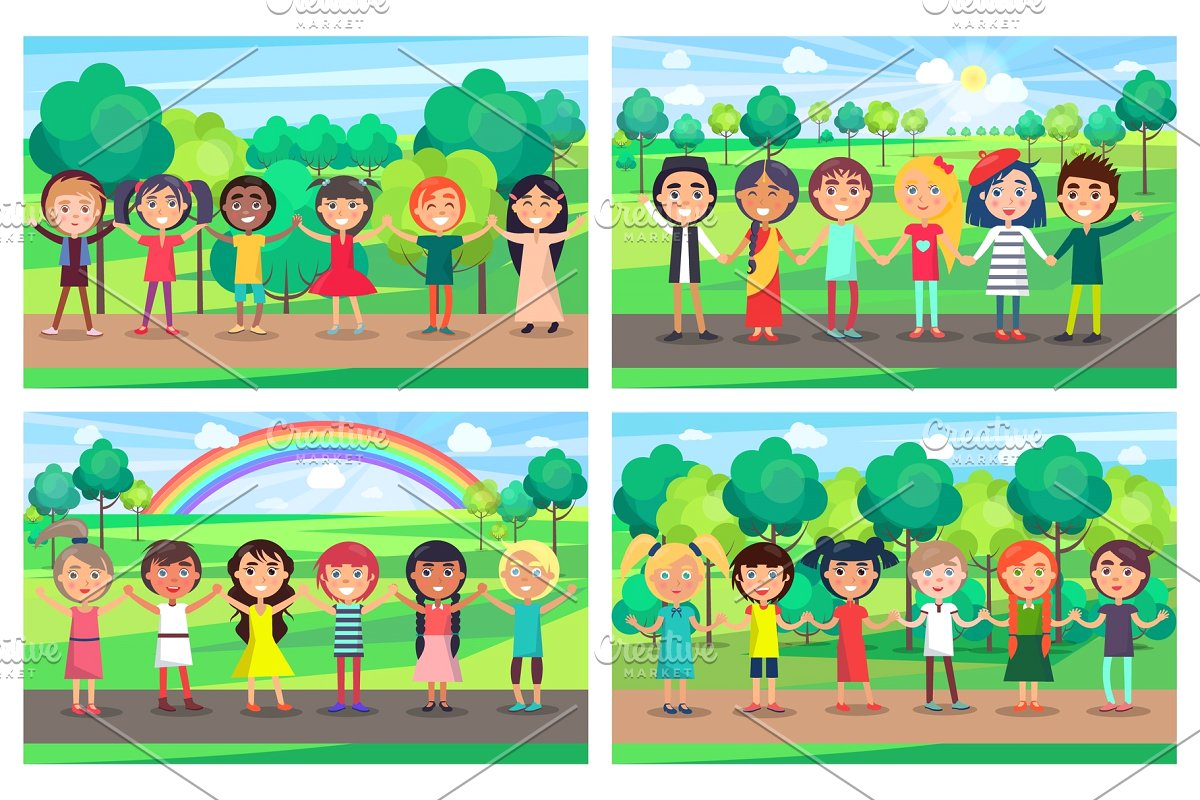 Students of different nationality holding hands clipart vector royalty free library Children Hold Hands Together out on Nature Set vector royalty free library