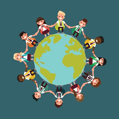 Students of different nationality holding hands clipart picture library Students of Different Nationalities Around The Vector Ill ... picture library