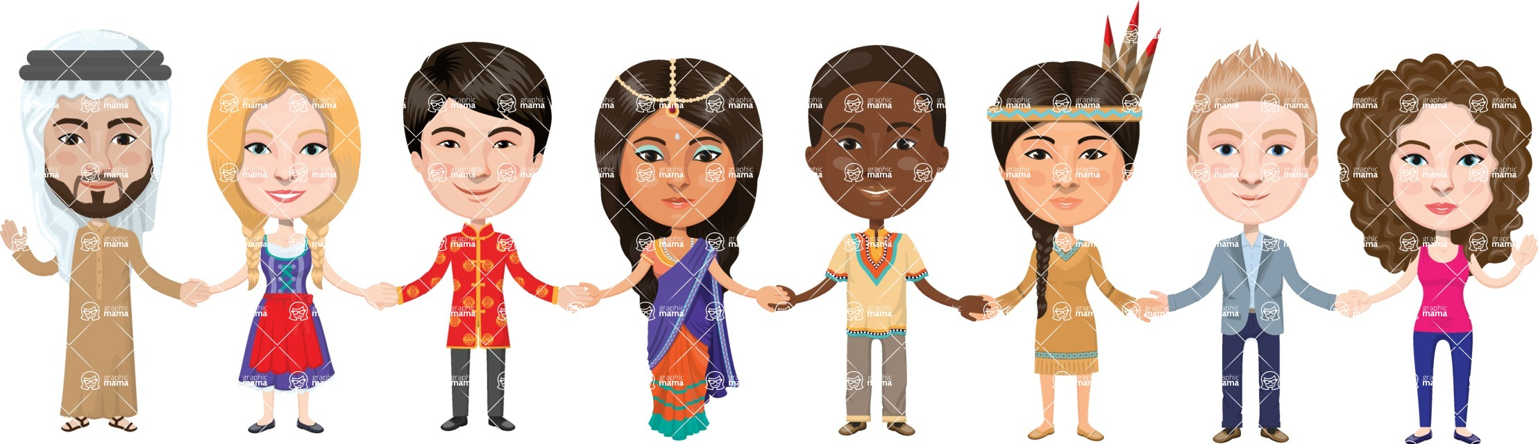 Students of different nationality holding hands clipart graphic 48. People from around the world holding hands graphic