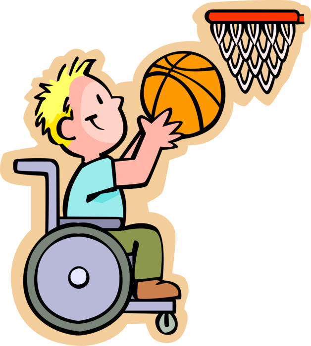 Wheelchair basketball clipart image freeuse Disabled Boy in Wheelchair Plays Basketball - Vector Image image freeuse