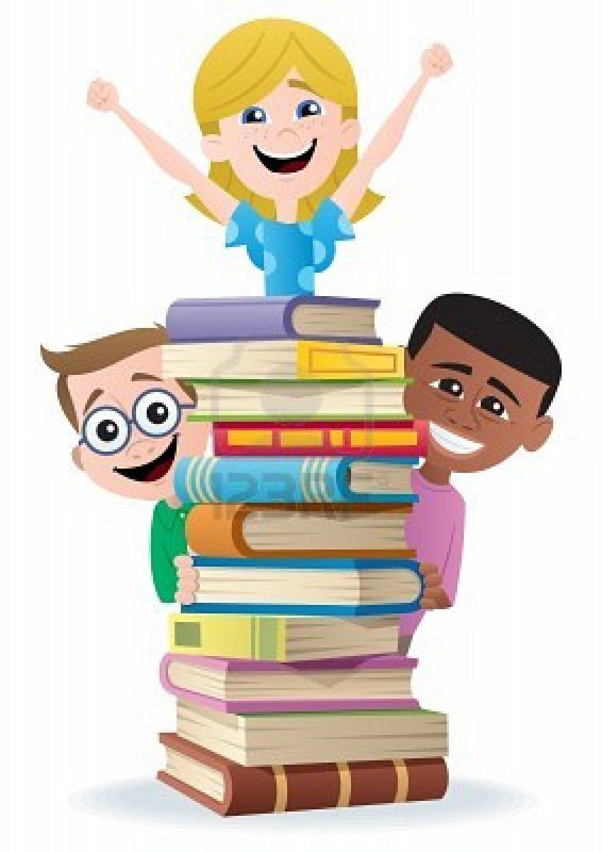 Students putting up library books cartoons clipart