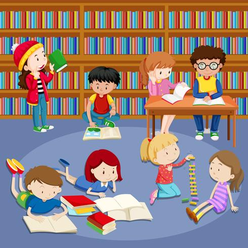 Students putting up library books cartoons clipart vector freeuse download Many kids reading books in library - Download Free Vectors ... vector freeuse download