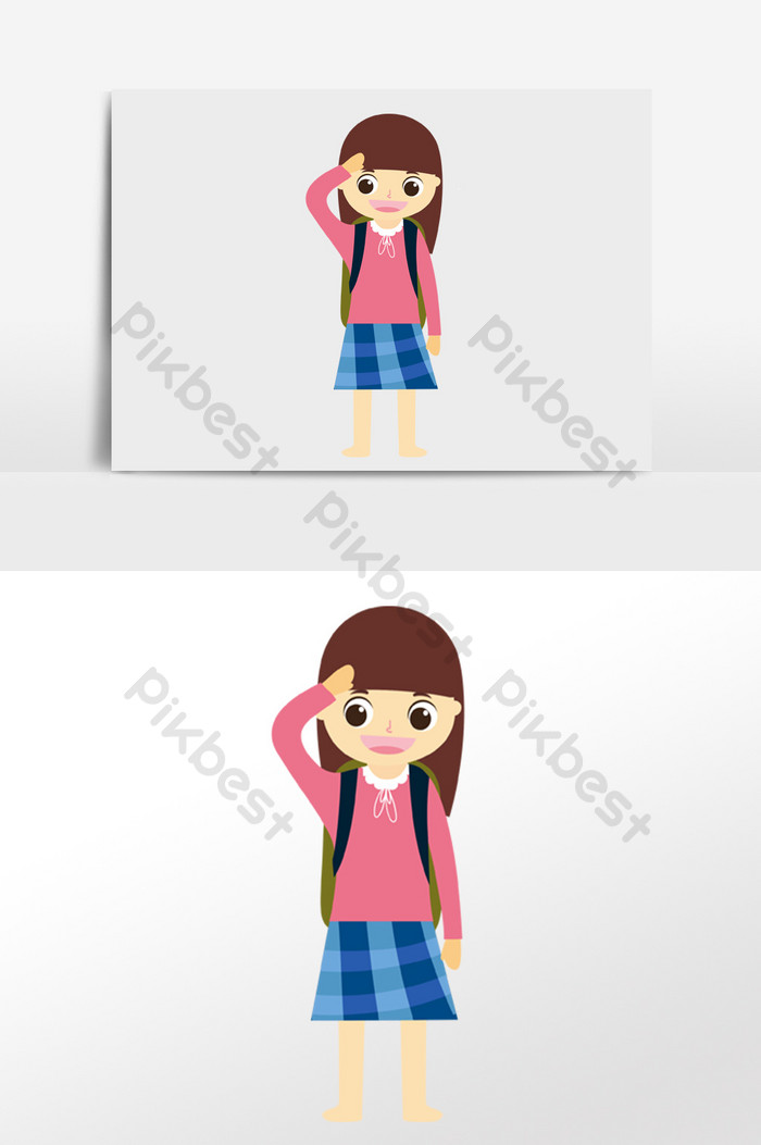 Students saluting clipart vector library library Cute cartoon student,school,salute,national day illustration ... vector library library