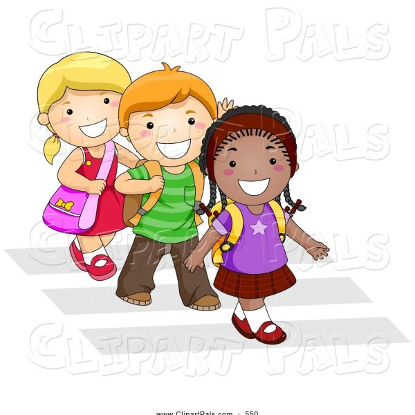 Walk around school clipart png black and white Pal Clipart Of A Trio Of Diverse School Kids Walking In Line ... png black and white