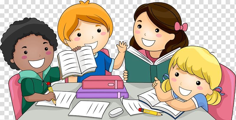 Student group clipart royalty free download Child , Students, group of children studying illustration ... royalty free download