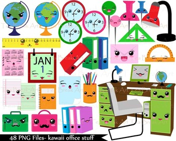 Stuf clipart clipart library download 48 PNG Files- Kawaii Office Stuff ClipArt- 300 dpi 113 clipart library download