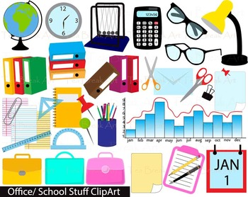 Stuf clipart vector black and white download 35 PNG Files- Office/School Stuff Digital Clipart- 114 vector black and white download