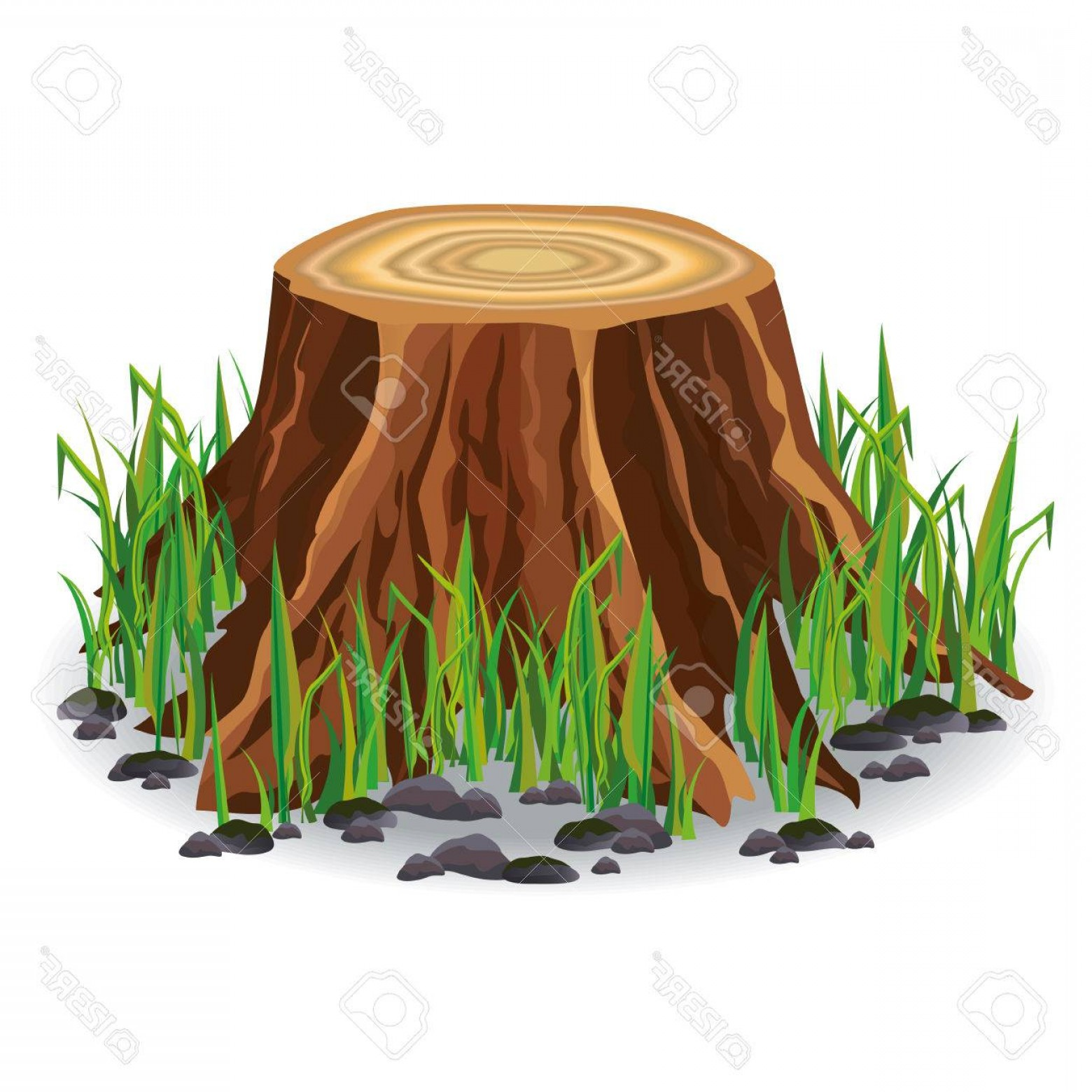 Stump clipart vector svg freeuse Photostock Vector Realistic Tree Stump With Fresh Green ... svg freeuse