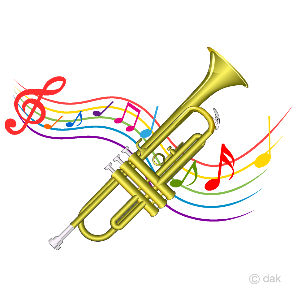 Trumpet music notes clipart black and white png freeuse download Trumpet and Music Tone Waving Clipart Free Picture|Illustoon freeuse download