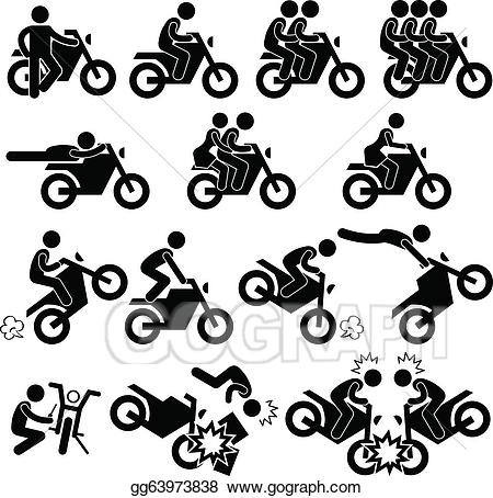 Stuntman clipart image black and white library Vector Stock - Motorcycle stunt daredevil icon. Clipart ... image black and white library