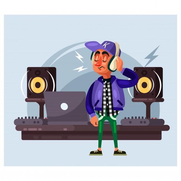 Sua musica clipart vector Jockeys de disco estão curtindo sua música com seus ... vector