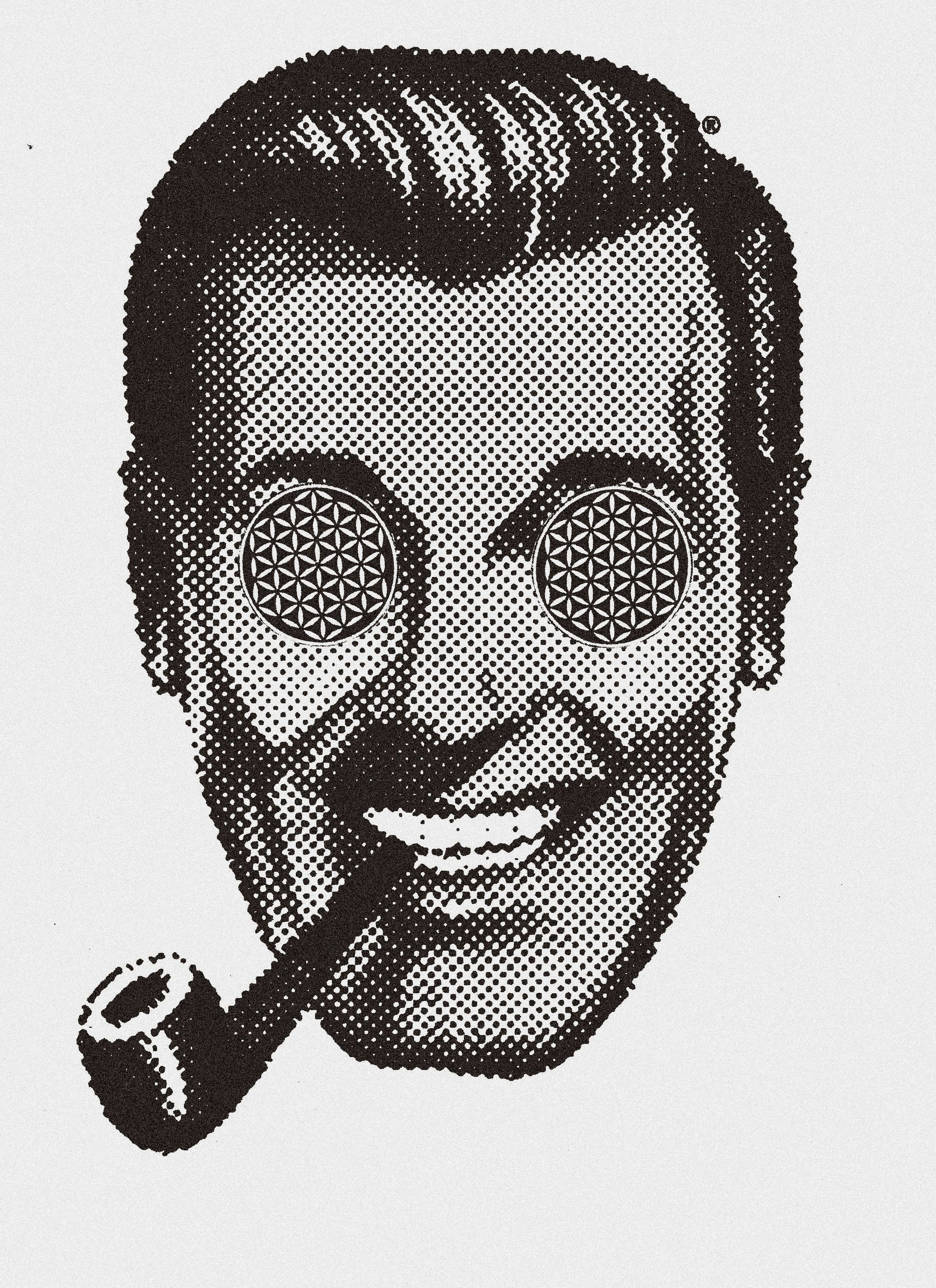 Subgenius clipart image black and white download Bob J.R. Dobbs and the Flower of Life | That Weird Stuff I ... image black and white download