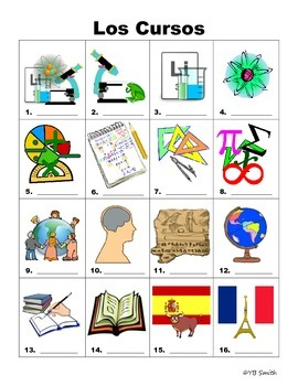 Subjects in spanish clipart clip art Spanish School Subjects Vocabulary PICTURE Notes SET clip art