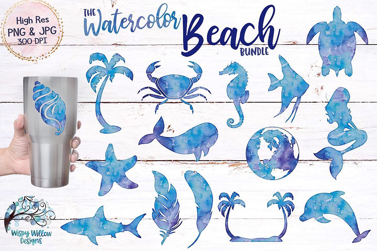 Sublimination clipart clip art royalty free stock The Watercolor Beach Bundle | PNG | Sublimation | Clipart clip art royalty free stock