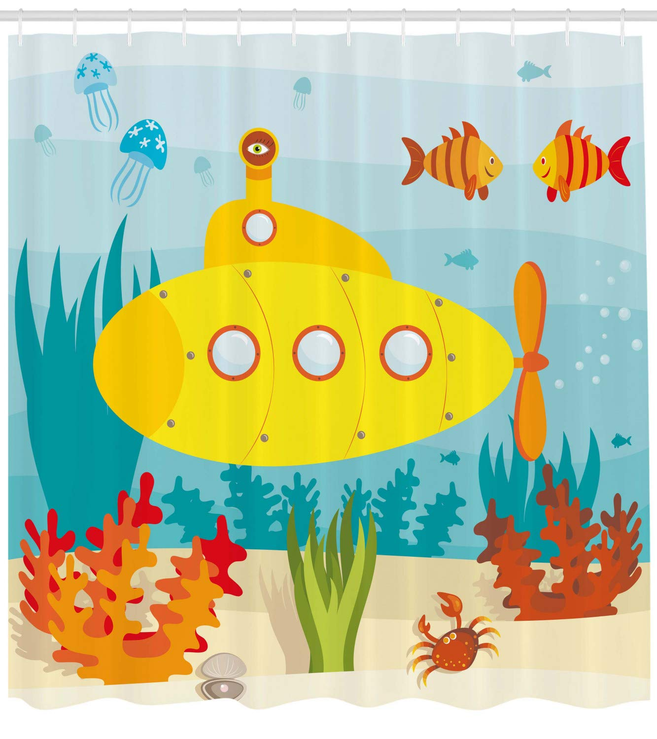 Submarine fish decor clipart clipart black and white Ambesonne Yellow Submarine Shower Curtain, Sea Life Theme with Submarine  Fish and a Crab Illustration Print, Fabric Bathroom Decor Set with Hooks,  105 ... clipart black and white