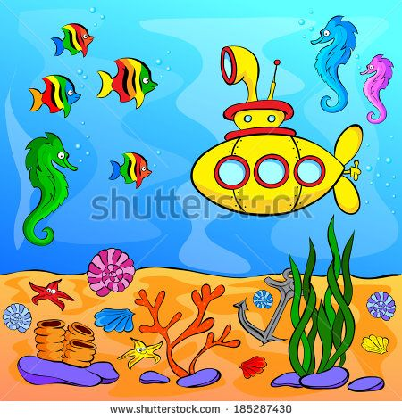 World under the sea clipart svg free Submarine Underwater Stock Vectors & Vector Clip Art ... svg free