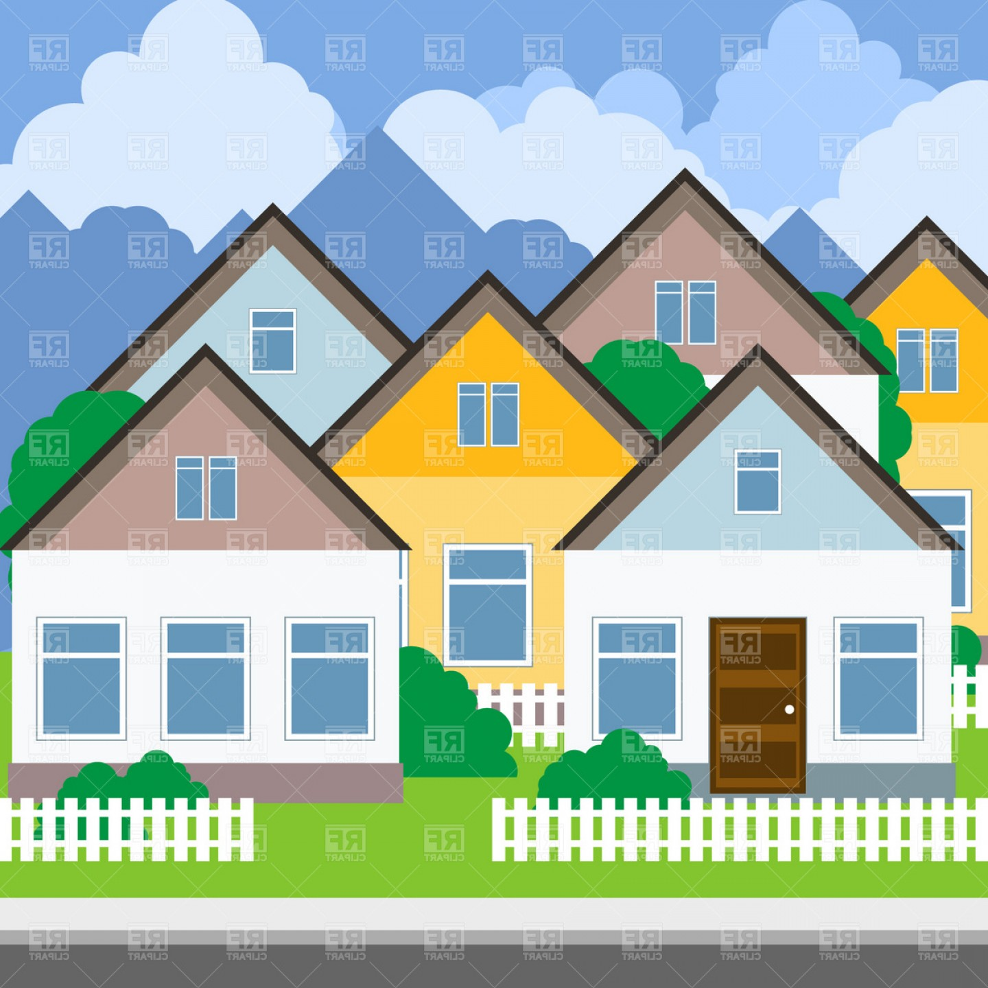 Suburb clipart banner free Suburb Street And Houses Vector Clipart | SOIDERGI banner free
